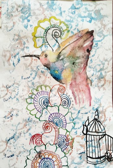 Arya School, Ravina  Rabadiya, 15, Fly Away, watercolour