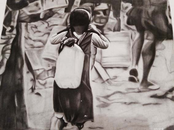 Martin  Mutegi, 25, Wangechi, charcoal on canvas