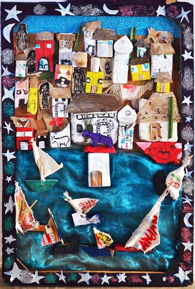 Anidan Center, Class 3, 10y/o, Portrait of Lamu Town, recycled