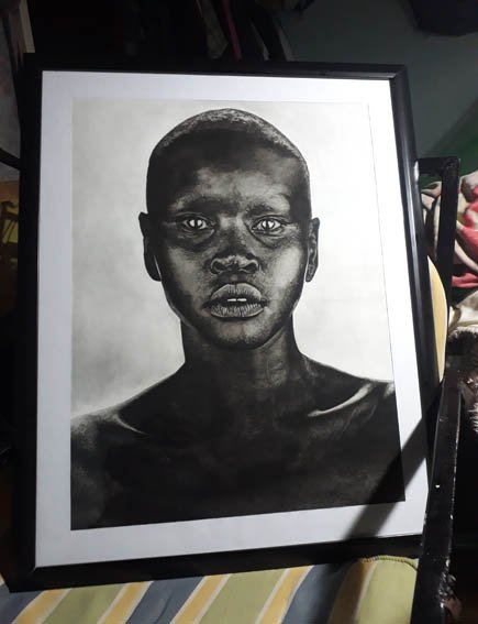 COMMENDED. Morris Wamae, 21, Tears, charcoal