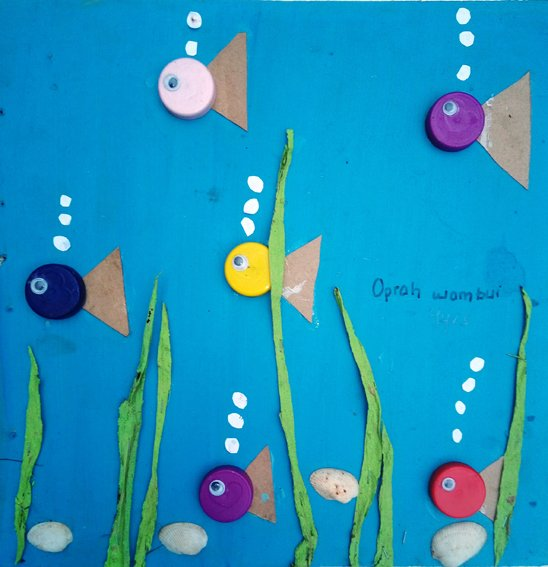 Taswira Art CLub, Oprah Wambui, 9, Magical Fish, recycled